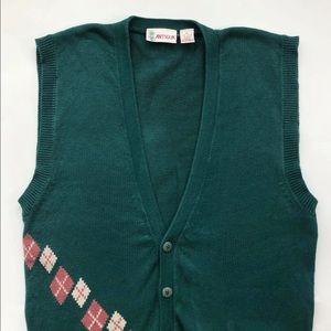 Vintage 80s Jones Wear Zebra Striped Sleeveless Sweater Vest Size Medium
